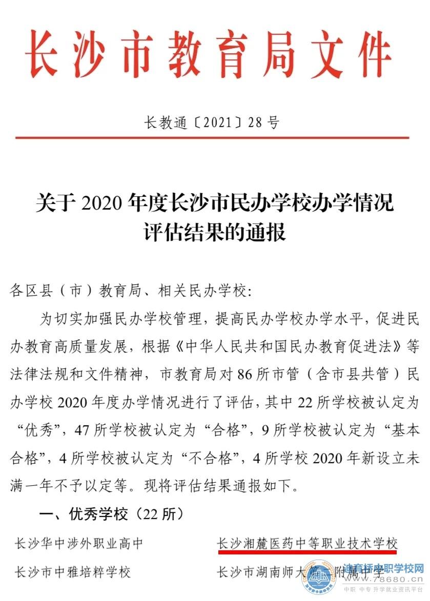 长沙湘麓医药中等职业技术学校荣获长沙市教育局2020年度办学评估优秀学校