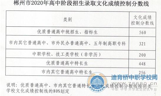 2020郴州中考各高中录取分数线